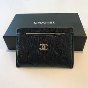 Chanel black gold quilted caviar SLG card case!
